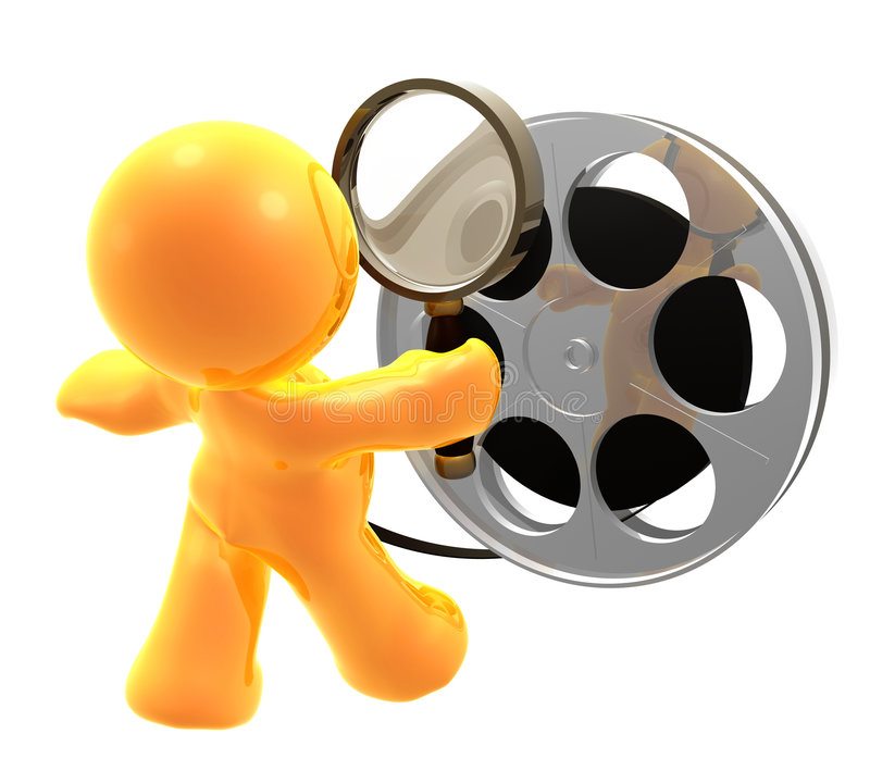 guy censoring movie reel royalty free illustration