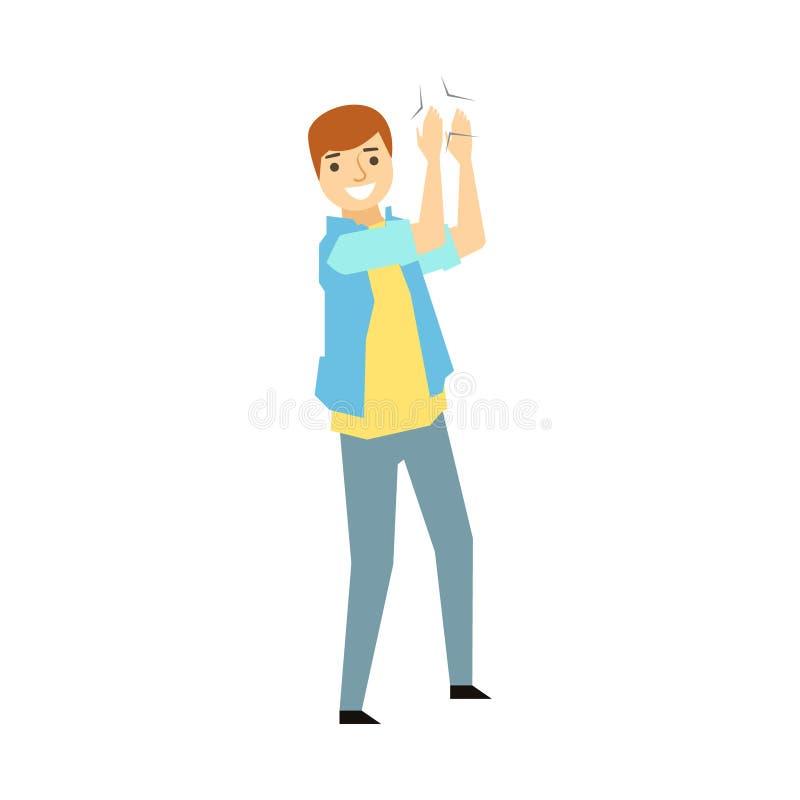 Guy Clapping His HandsPart van Grappige Gedronken Mensen die Pret hebben bij de Partijreeks stock illustratie
