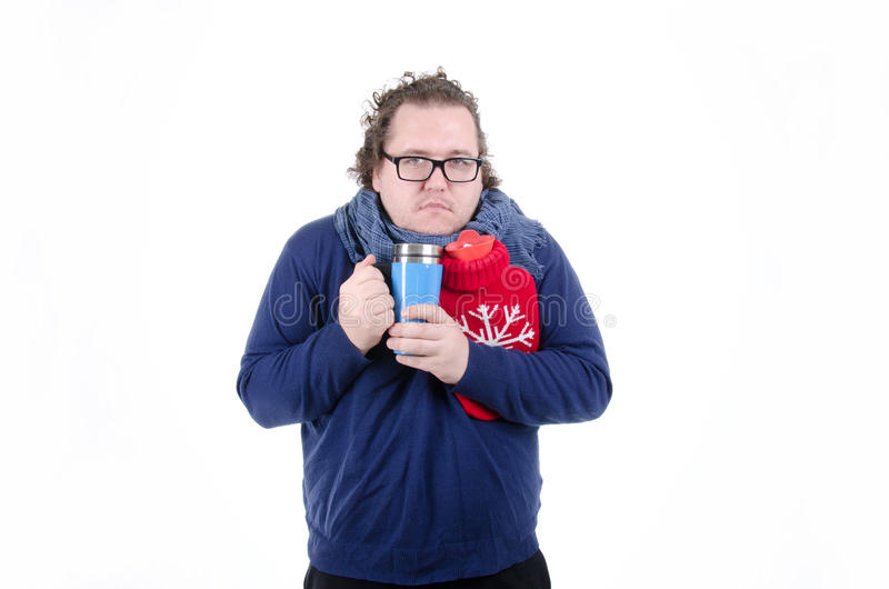 The guy, cold. White background. royalty free stock images