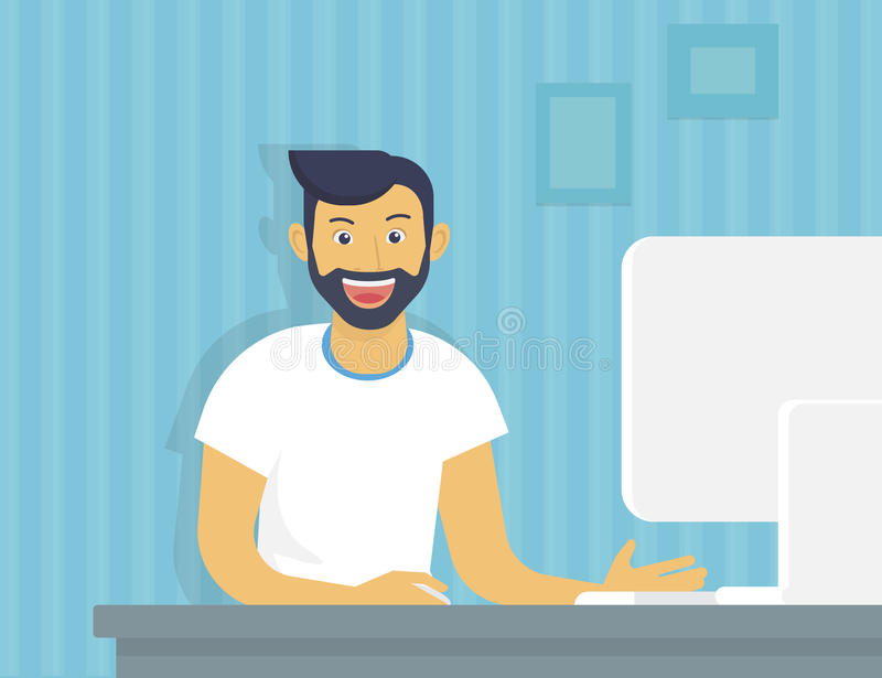 Guy with computer royalty free illustration
