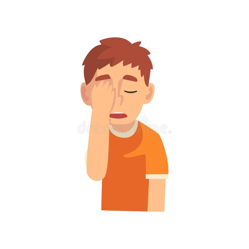Guy Covering His Face med handen, tonårig pojkedanandeFacepalm gest, skam, huvudvärk, besvikelse, negativ sinnesrörelse royaltyfri illustrationer