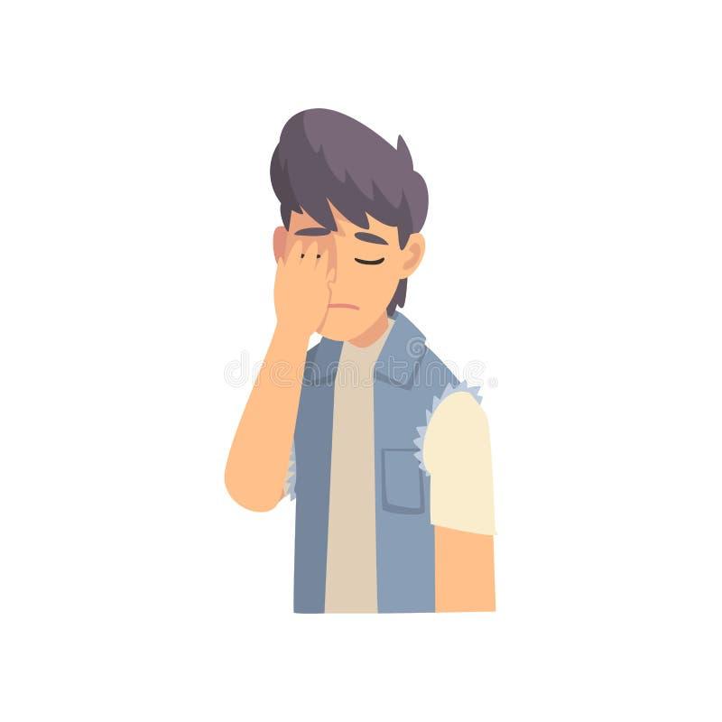 Guy Covering His Face med handen, trendig tonårig pojke som gör den Facepalm gesten, skam, huvudvärk, besvikelse, negation vektor illustrationer