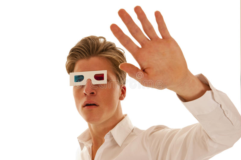 Guy with 3d movie glasses looking scared royalty free stock images