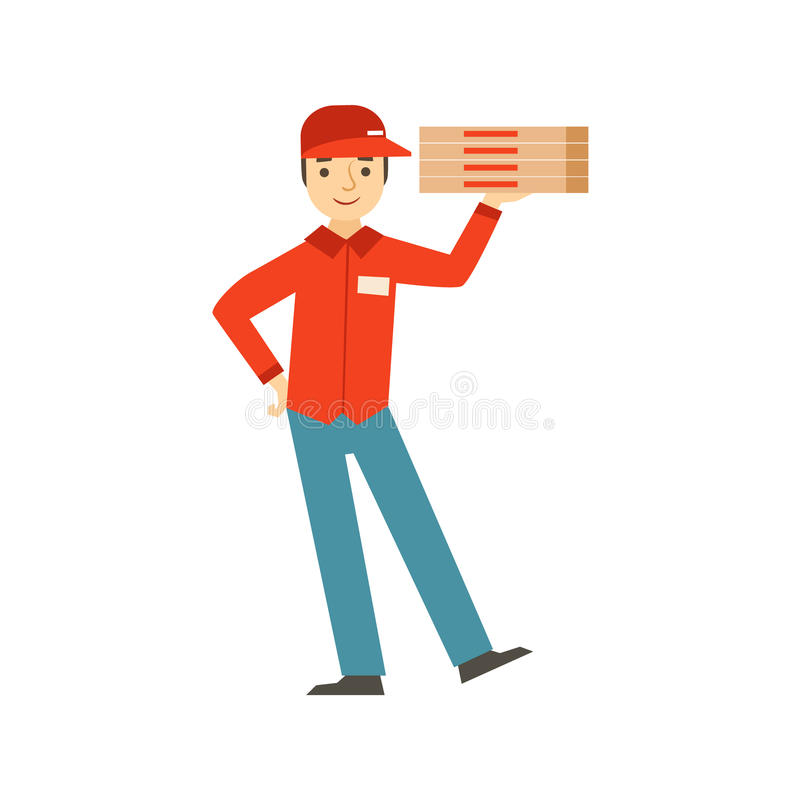 Guy Delivering Pizza,Part Of Italian Fast Food Cuisine Restaurant Takeout Delivery Service Collection Of Illustrations royalty free illustration