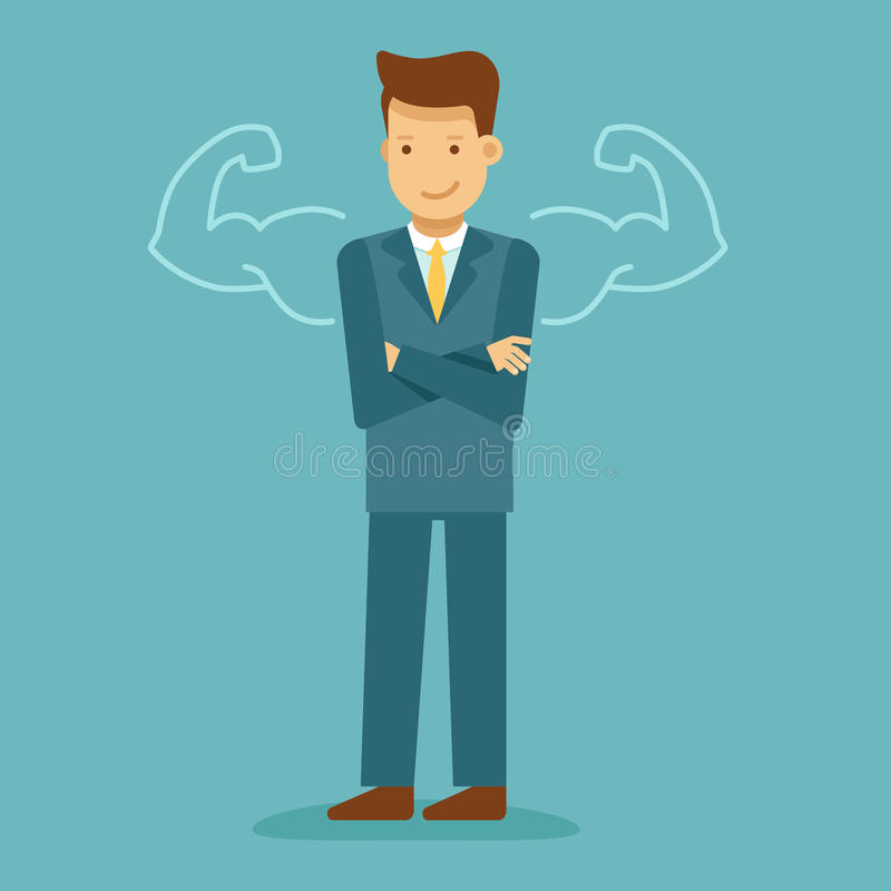 Guy with drawn strong arms - business motivation and inspiration royalty free illustration