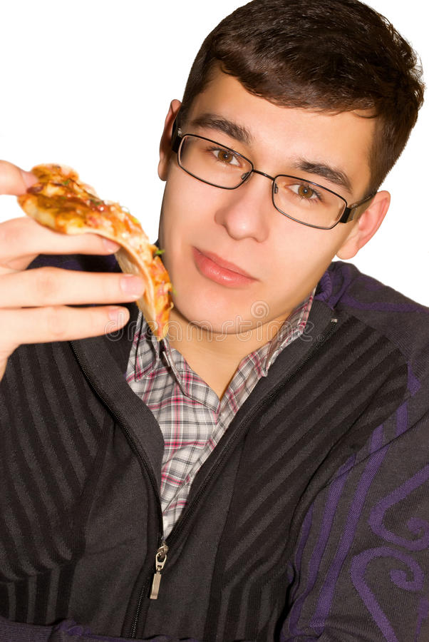 Download The guy eats pizza. stock image. Image of meal, snacks - 23821429