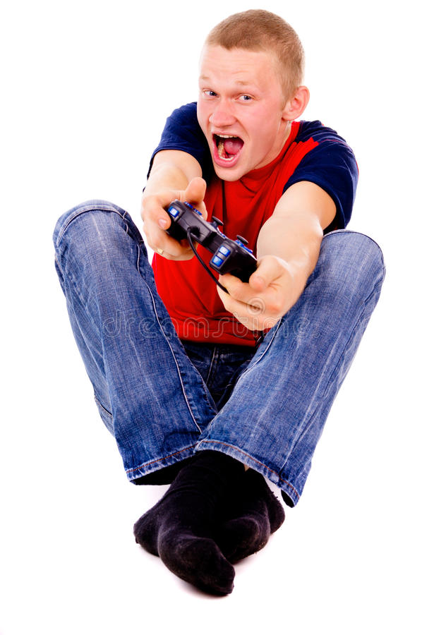 Download The Guy Excitedly Playing Video Games Stock Image - Image: 28635841
