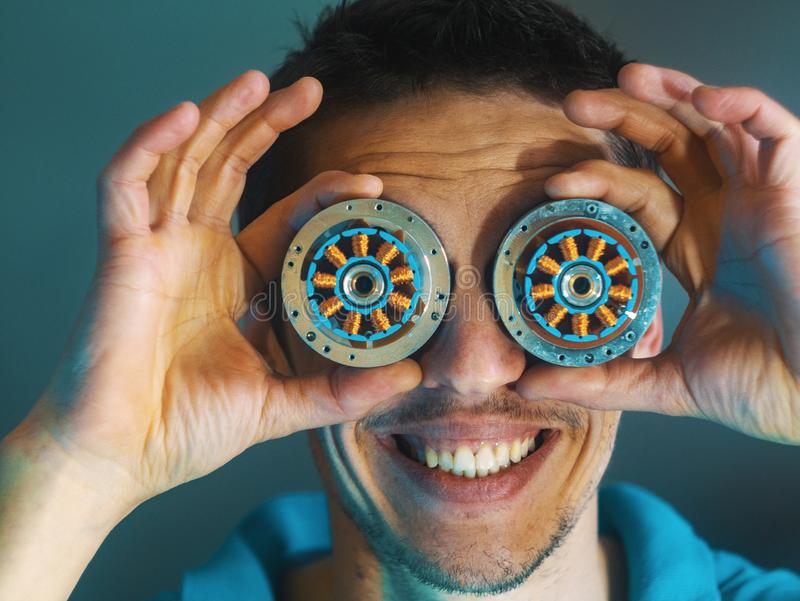 The guy with the eyes of a robot. human robot royalty free stock photo