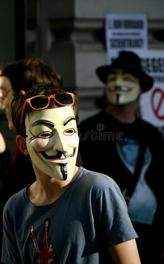 Guy Fawkes - Anonymous activist at rally royalty free stock photo