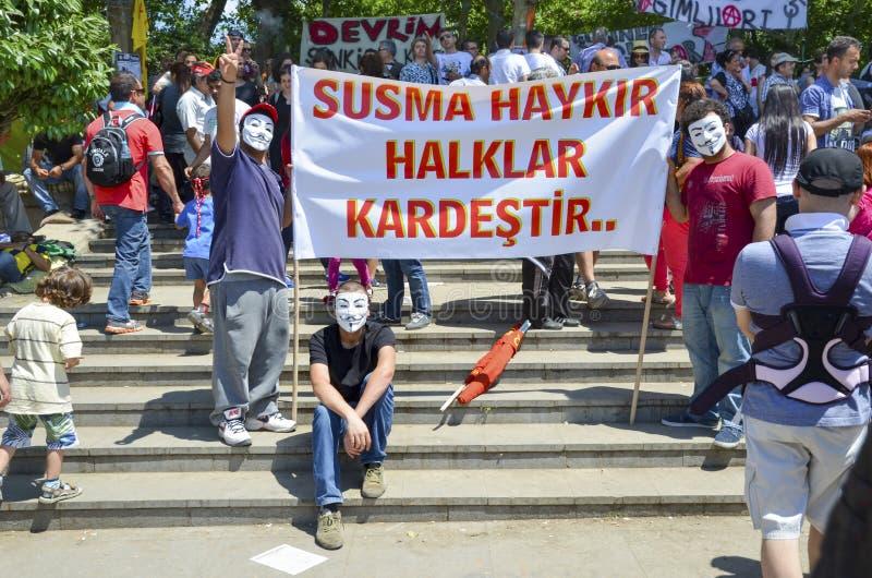 Guy Fawkes ha mascherato i dimostratori con i cartelli veduti nel parco di Gezi fotografie stock libere da diritti