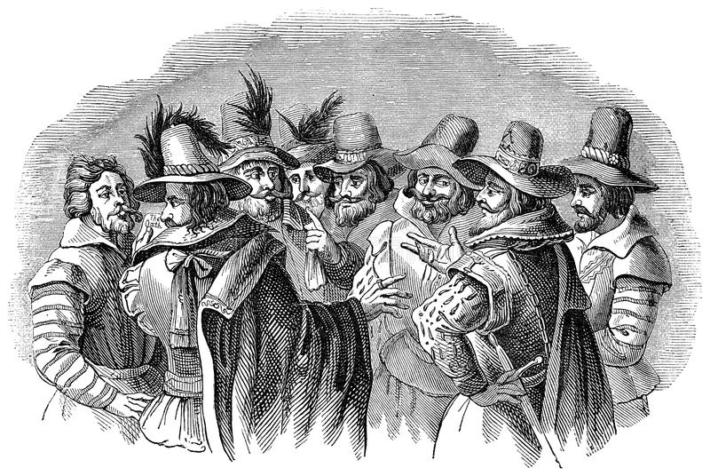 Guy Fawkes and his fellow conspirators. An engraved illustration image of Guy Fawkes and his accomplices. The conspirators of the 5th of November Gunpowder plot vector illustration