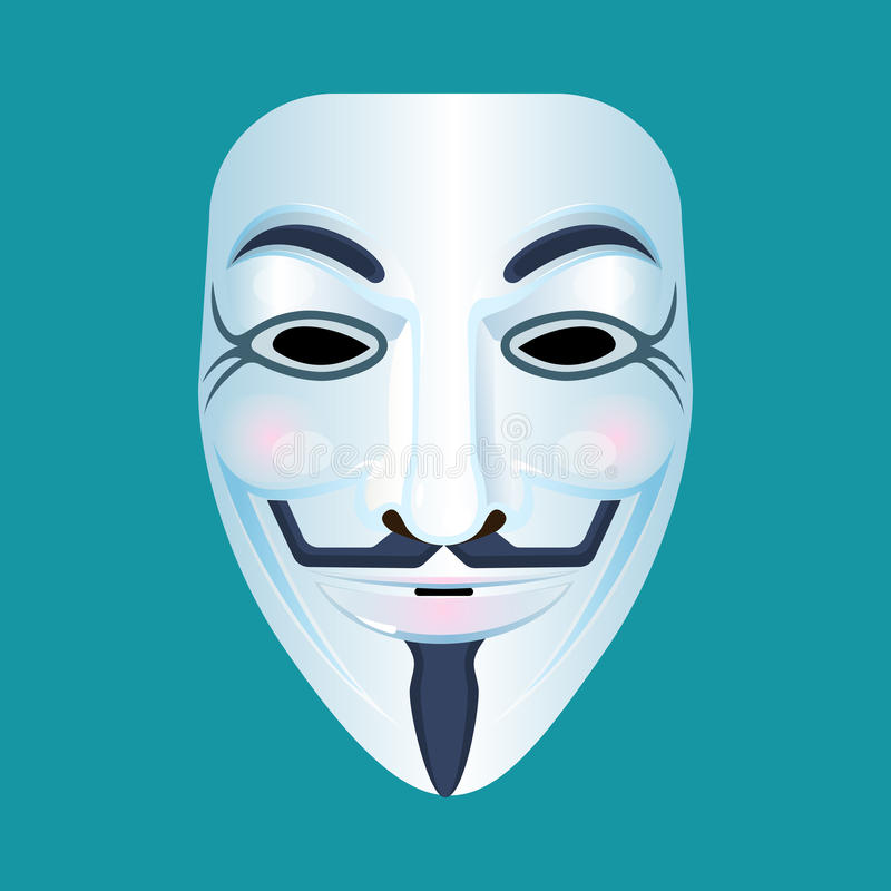 Guy Fawkes mask stylised depiction isolated on blue. Guy Fawkes mask illustration stock illustration
