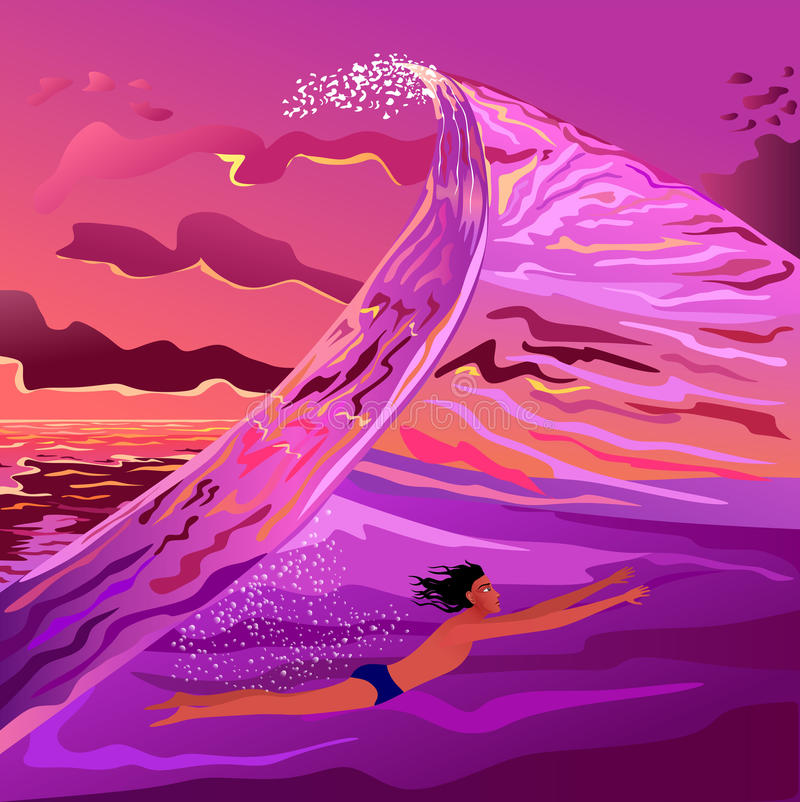 The guy floating in the wave. At sunset stock illustration
