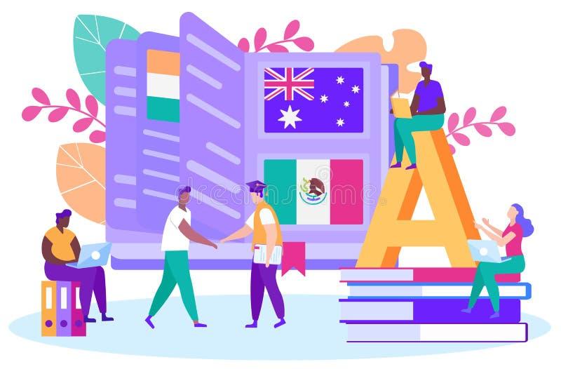 Guy Get International Diploma. Leaf Through Book. vector illustration