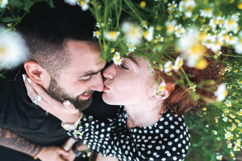 Young couple lies on the field with daisies. stock photography