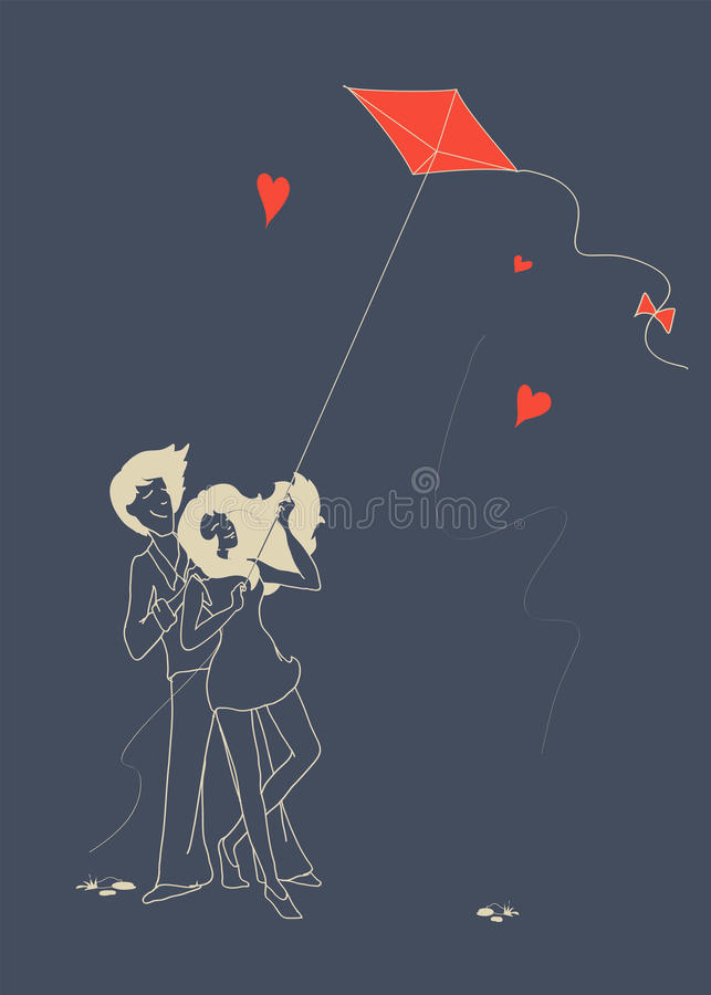 Guy and girl in love fly a kite. Young guy and beautiful girl in love fly a kite. Illustration royalty free illustration