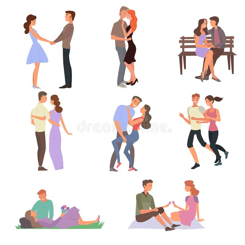 The guy and the girl in love walk each other, go on dates, hug, kiss, drink wine and walk. Beautiful young people. Young couple in stock illustration