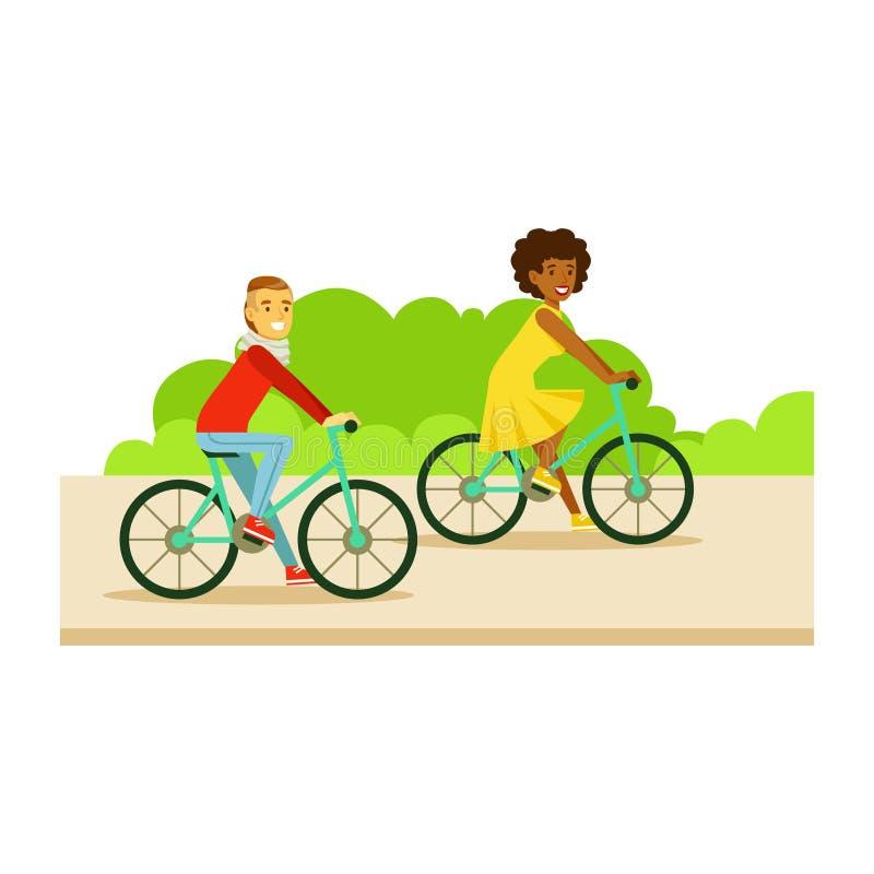 Guy And Girl Riding Bicycles, parte dos povos na série de atividades do parque ilustração stock