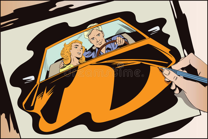 Guy and girl in a sports car. Stock illustration. People in retro style pop art and vintage advertising. Guy and girl in a sports car. Hand paints picture vector illustration