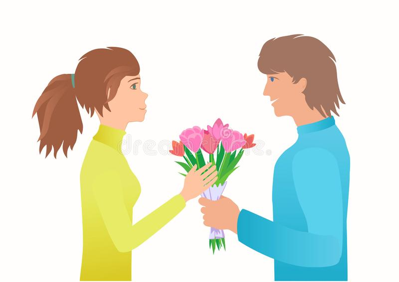 Guy give girl bouquet on the Date. stock illustration
