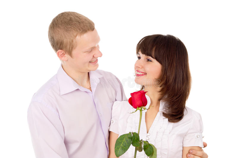 Boy gives a rose beautiful girl stock photo image of - Boy propose girl with rose image ...