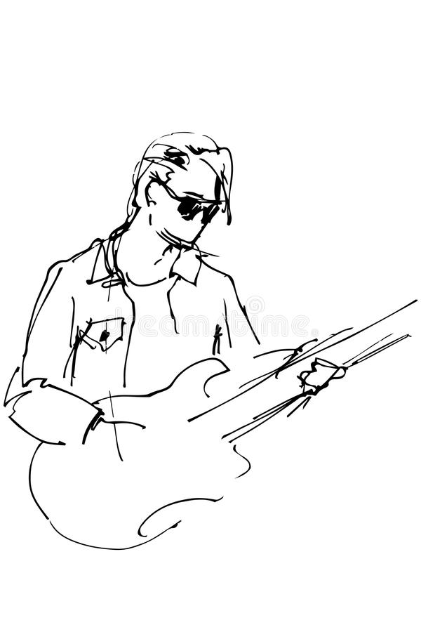 Download Guy With Glasses An Electric Guitar Stock Vector