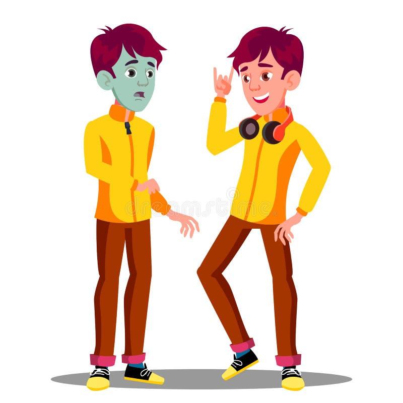 Guy With Green Face adolescente doente, antes e depois do vetor Ilustração isolada dos desenhos animados ilustração stock