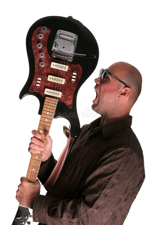 Guy with guitar shout stock photos