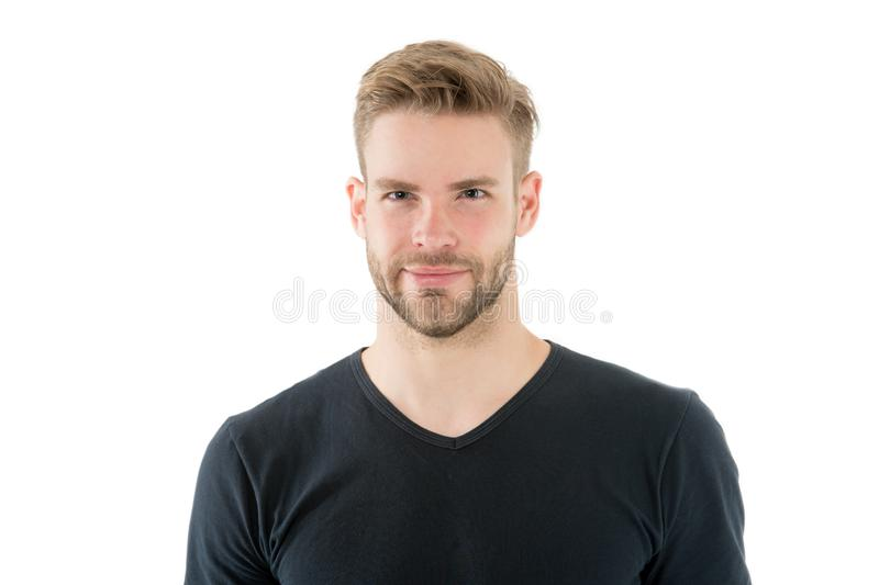 Guy handsome with unshaven face and mustache. Beard and hair care barber shop. Skincare and male beauty concept. Casual. But handsome. Handsome bearded man with royalty free stock image