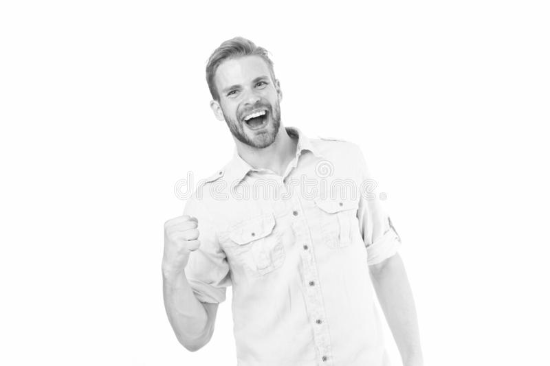 Guy happy find solution. Achieve success. Man with beard happy about solution. Celebrate good result. Solution for all royalty free stock photos