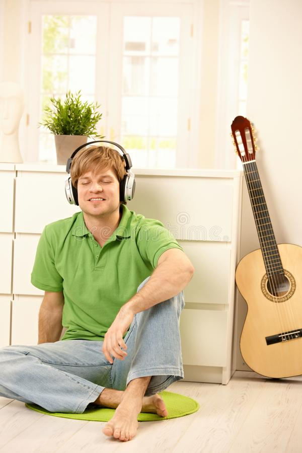 Guy with headphones royalty free stock photography