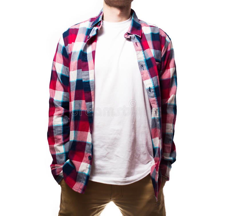 The guy, hipster in the black t-shirt,plaid red shirt blank, sm royalty free stock image