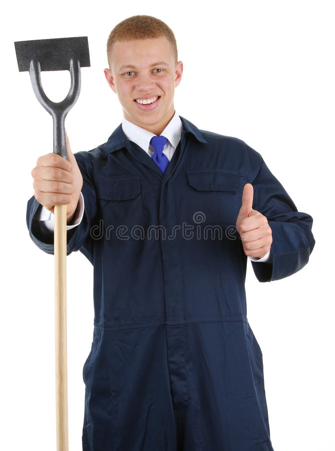 Download A guy with a hoe stock photo. Image of gesture, overalls - 24185120