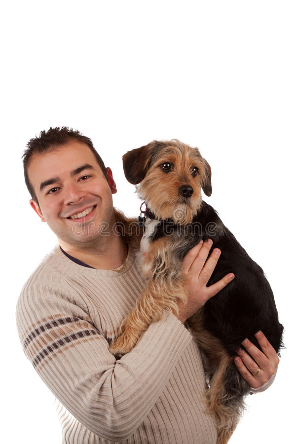 Download Guy Holding a Cute Dog stock photo. Image of cuddling - 24108892