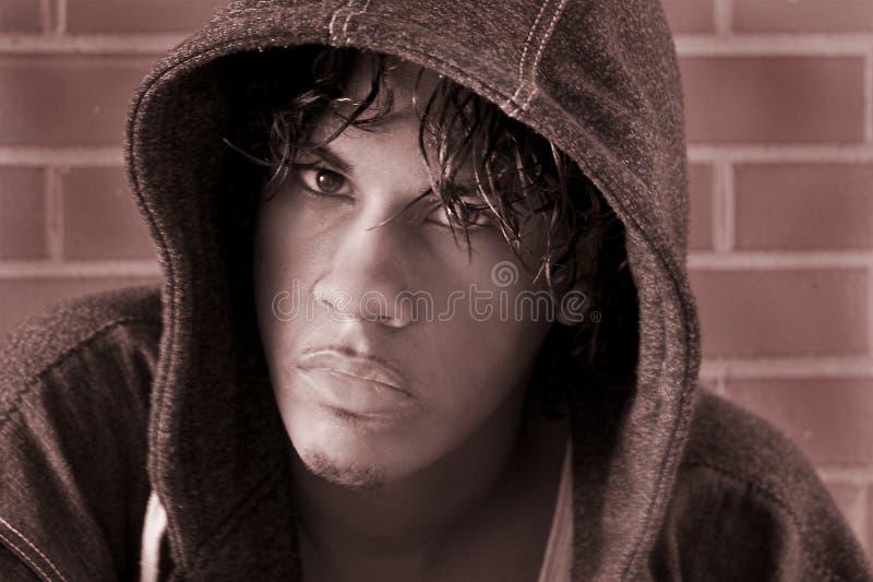 Guy with hood stock photo