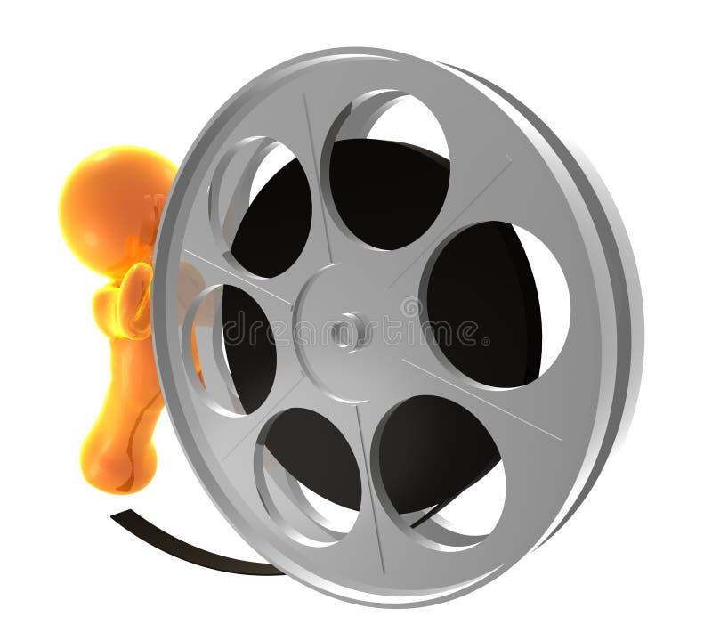 Guy icon rolling film reel. Illustration vector illustration