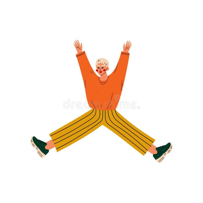 Guy Jumping Celebrating Important Event heureux, soirée dansante, amitié, illustration de vecteur de concept de sport illustration de vecteur
