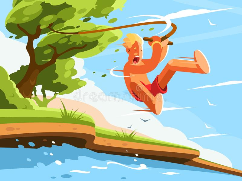 Guy jumps into water. With swing on tree. illustration vector illustration