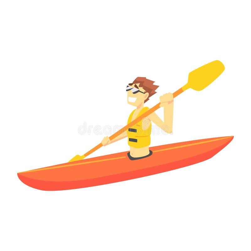 Guy Kayaking del av tonåringar som öva extrema sportar för rekreation royaltyfri illustrationer