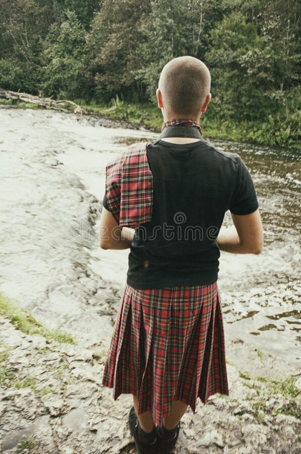 Guy in kilt royalty free stock photography