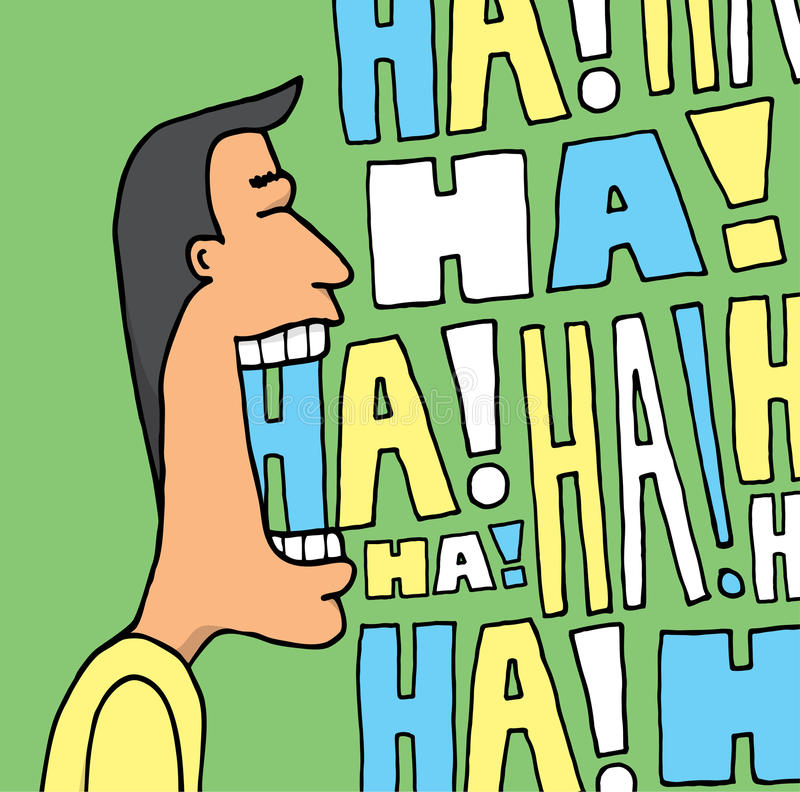 Guy laughing out loud. Cartoon illustration of a man laughing in many colors vector illustration