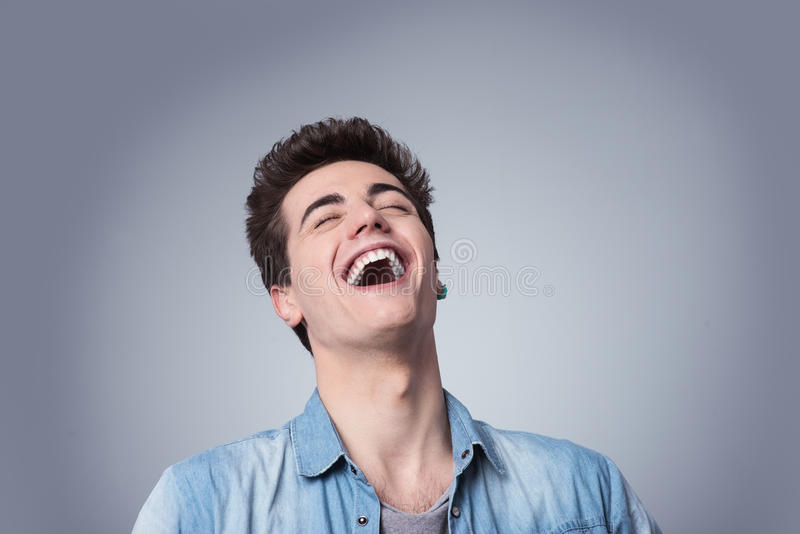 Guy laughing out loud stock images
