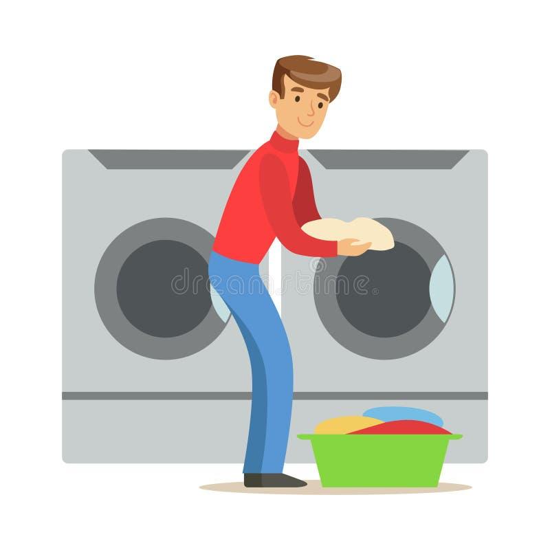 Guy Loading Dirty Laundry, parte de gente que usa las lavadoras automáticas de la lavandería del autoservicio del vector ilustración del vector