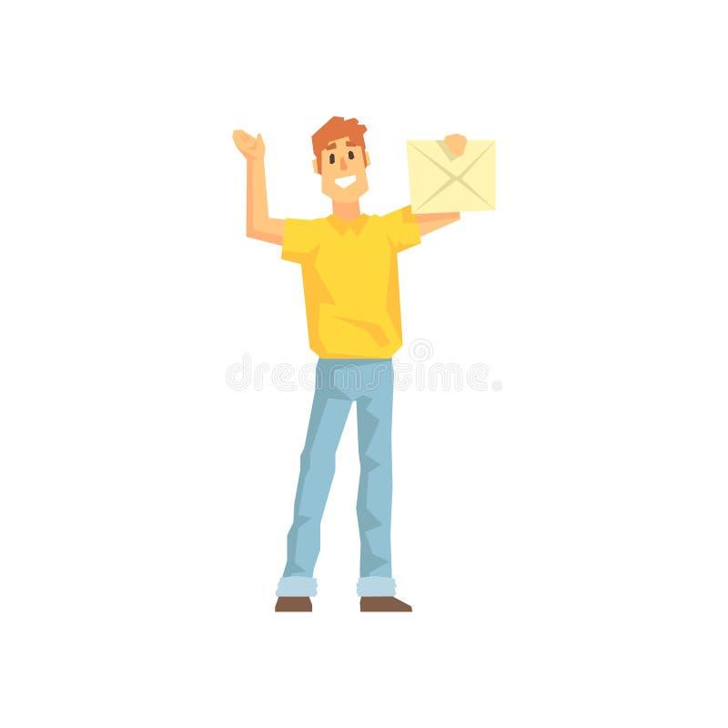 Guy With The Mail Envelop, empregado da empresa de entrega que entrega a ilustração das expedições ilustração stock