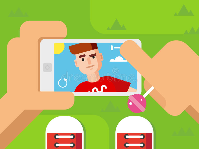 Guy Makes Selfie auf intelligentes Telefon-flachem Design vektor abbildung