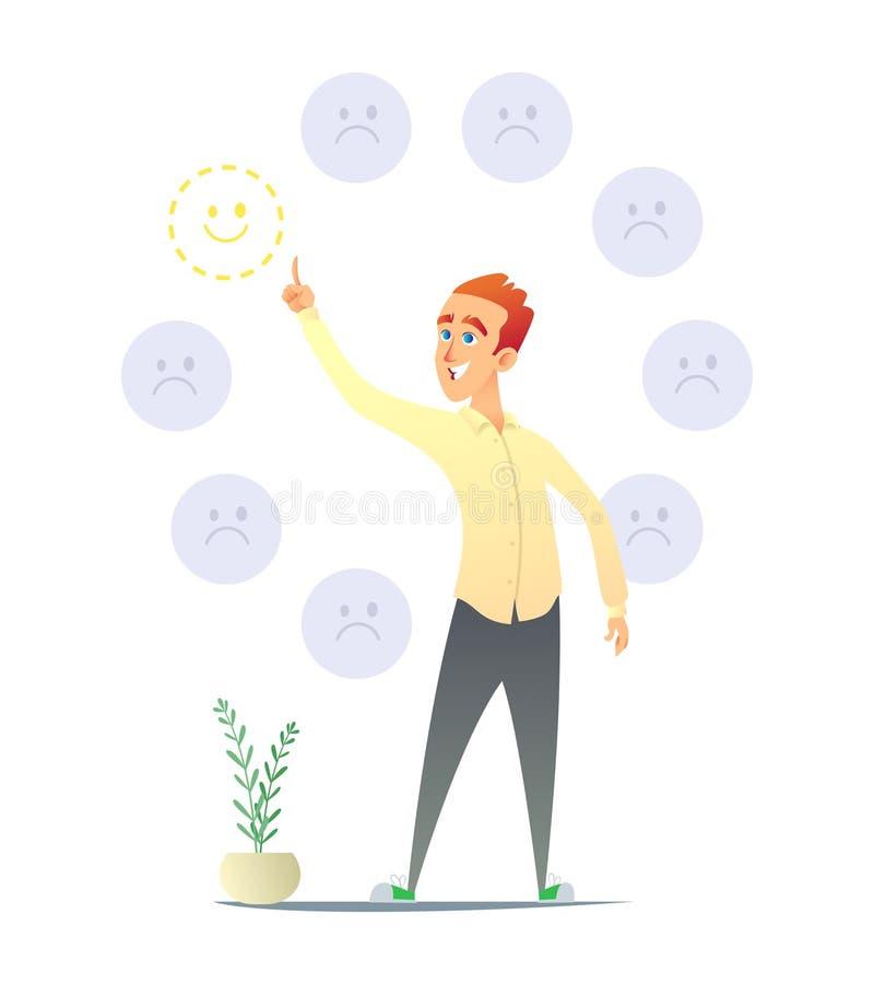 Guy Makes uma escolha positiva Um homem escolhe um positivo Ilustração do conceito do projeto e da tomada de decisão de caráter ilustração do vetor