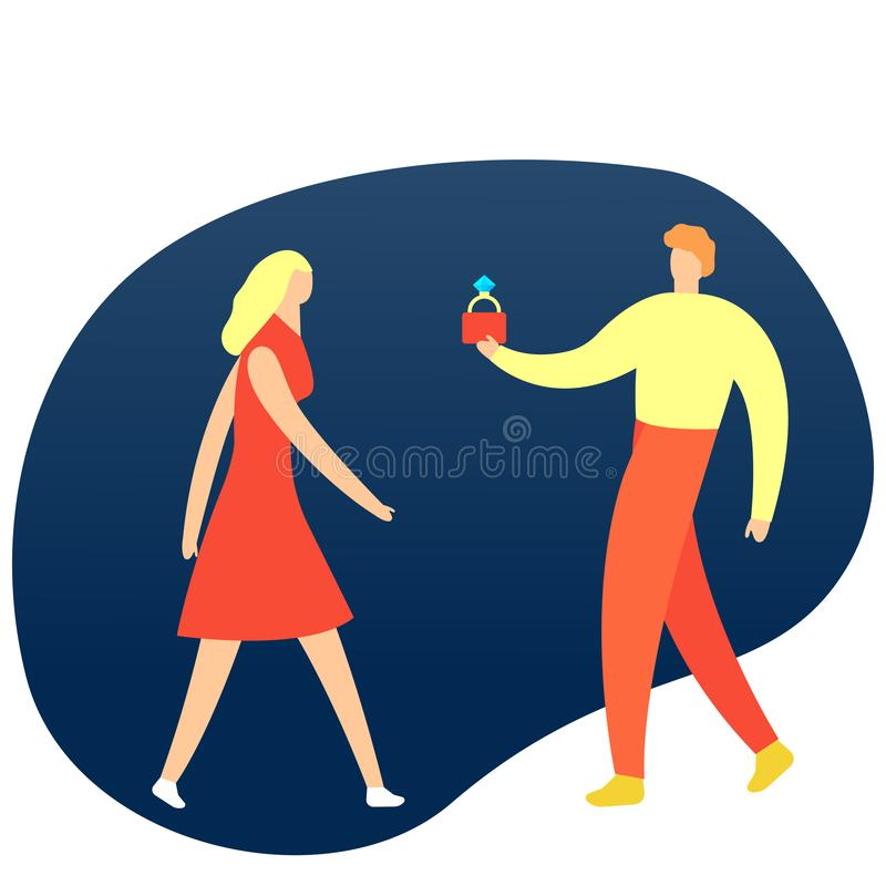 Man holding wedding ring and making a proposal to his girlfriend. Romantic surprise. Isolated vector illustration in. Guy is making a wedding proposal. Man giwes vector illustration
