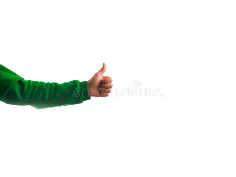 guy, man hipster, showing a thumbs up isolated on a white background in a greenery sweatshirt, concept of success, completion stock image