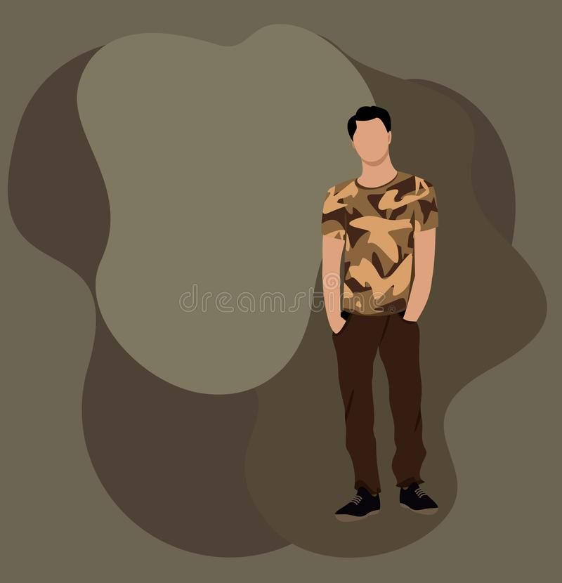 Guy in military style clothes against a background of khaki spots, young man stands. With his hands in his pockets royalty free illustration