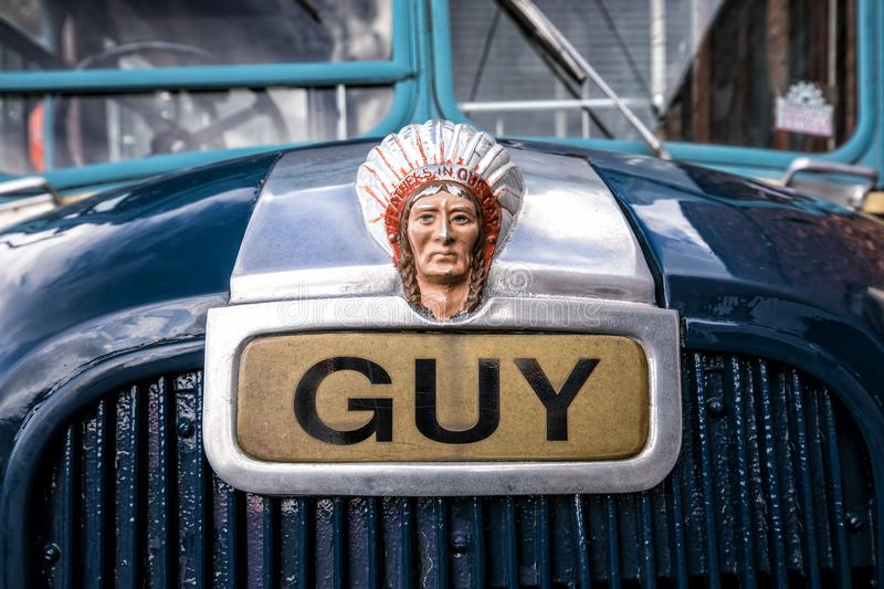 Guy Motors Bonnet Mascot. The aluminium painted bonnet or hood mascot on a Guy 1953 GS Special single decker bus as seen at the Black Country Living Museum in stock photo